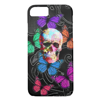 Fantasy skull and coloured butterflies iPhone 7 case