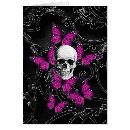 Fantasy skull and hot pink butterflies greeting cards