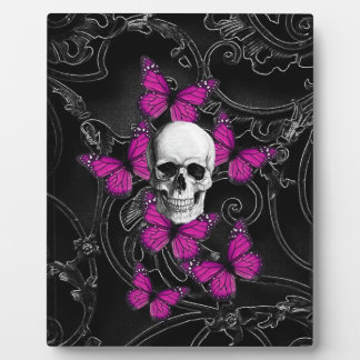 Fantasy skull and hot pink butterflies plaque