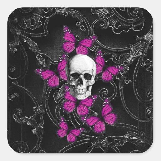 Fantasy skull and hot pink butterflies sticker