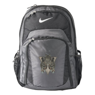 Fantasy Skull Wolf and Indian Backpack