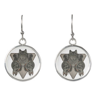Fantasy Skull Wolf and Indian Earrings