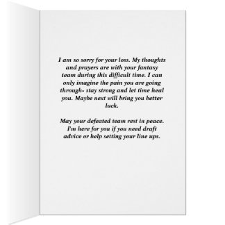"""Fantasy Sports Sympathy Card """"Sorry for your Loss"""""""