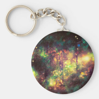 Fantasy Starry Forest 3 Basic Round Button Key Ring