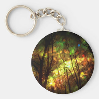 Fantasy Starry Forest Basic Round Button Key Ring