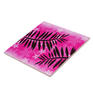 Fantasy Stars Palm Silhouette Hot Pink Background Large Square Tile