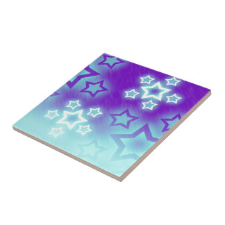 Fantasy Stars Palm Silhouette Sky Background Small Square Tile