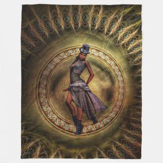Fantasy Steampunk Lady B Fleece Blanket
