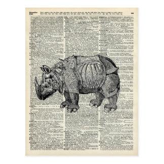 Fantasy steampunk Rhinoceros Postcard