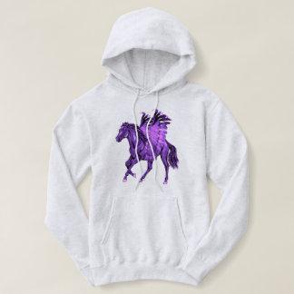 Fantasy Theme Purple Pegasus Winged Horse Hoodie
