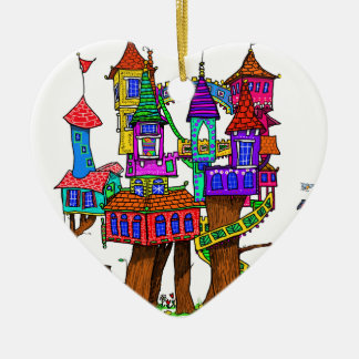 Fantasy Treehouse Ceramic Ornament