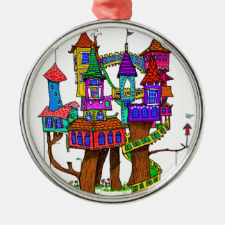 Fantasy Treehouse Metal Ornament