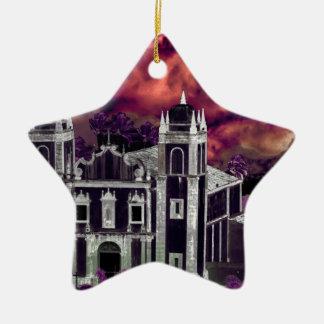 Fantasy Tropical Cityscape Aerial View Ceramic Star Decoration