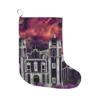 Fantasy Tropical Cityscape Aerial View Large Christmas Stocking