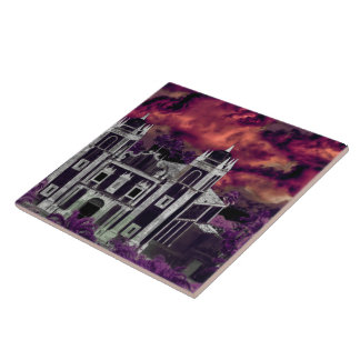 Fantasy Tropical Cityscape Aerial View Large Square Tile