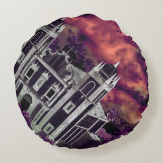 Fantasy Tropical Cityscape Aerial View Round Cushion