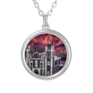 Fantasy Tropical Cityscape Aerial View Silver Plated Necklace