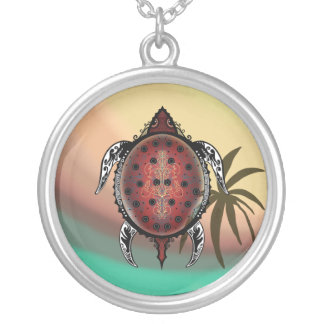 Fantasy Turtle Tattoo Silver Plated Necklace