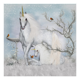 Fantasy Unicorns With Robins Wall Poster