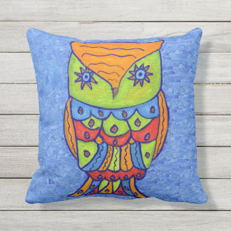 Fantasy Whimsical Owl Star Eyes Neon Colors Outdoor Cushion