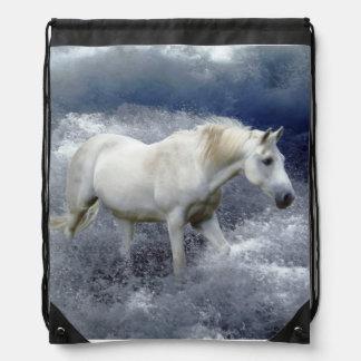 Fantasy White Horse & Ocean Surf Artwork Drawstring Bag