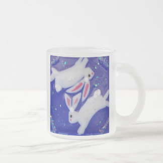 Fantasy White Rabbits Mug with Dichroic Glass Look