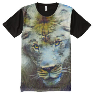 Fantasy Wildlife Jungle Lion Collage Acrylic Paint All-Over Print T-Shirt
