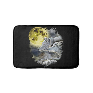 Fantasy Wolf Moon Mountain Bath Mat
