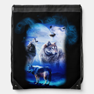 Fantasy Wolf Moon Mountain Drawstring Bag