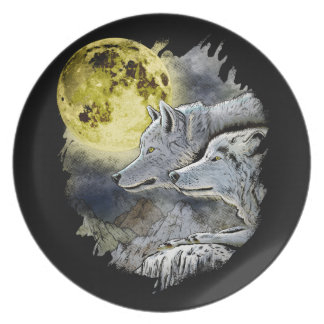Fantasy Wolf Moon Mountain Plate