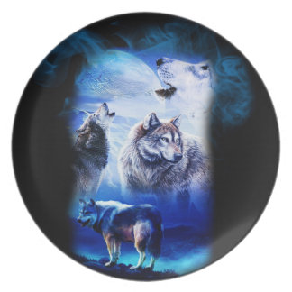 Fantasy Wolf Moon Mountain Plate