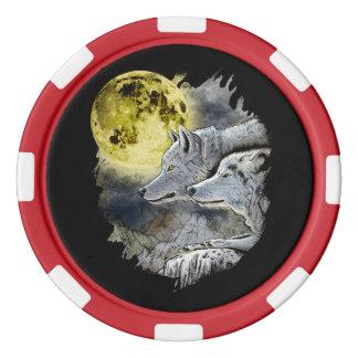 Fantasy Wolf Moon Mountain Poker Chips
