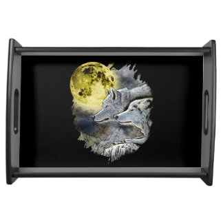 Fantasy Wolf Moon Mountain Serving Tray