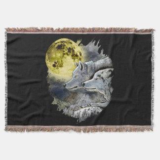 Fantasy Wolf Moon Mountain Throw Blanket