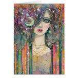 Fantasy Woman Bohemian Gypsy Colourful Abstract Greeting Card