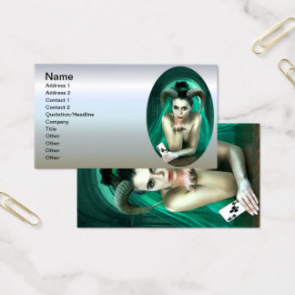 Fantasy Woman Playing Poker Business Card