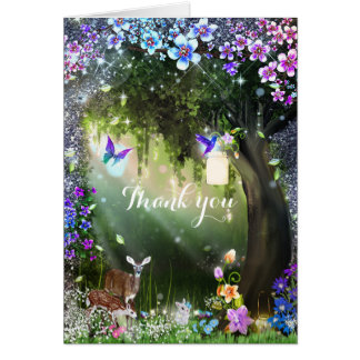 Fantasy woodland forest animals enchanted card