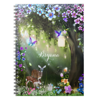 Fantasy woodland forest animals enchanted notebook