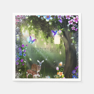 Fantasy woodland forest animals enchanted party paper napkins