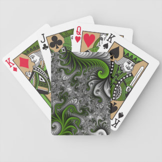 Fantasy World Green And Gray Abstract Fractal Art Bicycle Playing Cards