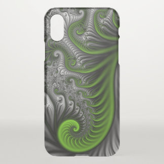 Fantasy World Green And Gray Abstract Fractal Art iPhone X Case