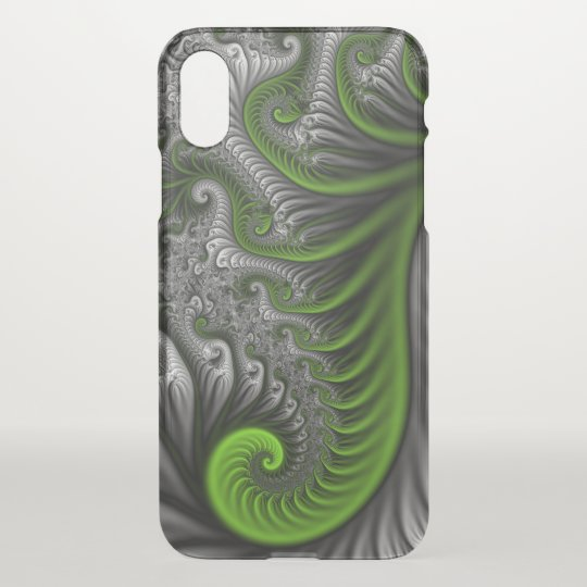 Fantasy World Green And Grey Abstract Fractal Art iPhone X Case