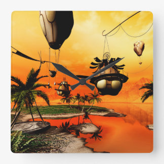 Fantasy world, the home in the wind wall clock