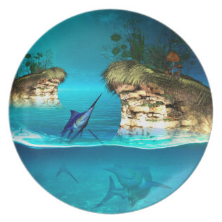 Fantasy world with marlin party plates