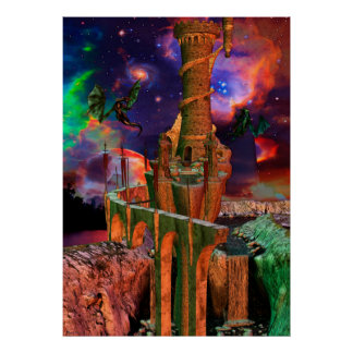 Fantasy Worlds Dragon Fight Fantasy Art Poster
