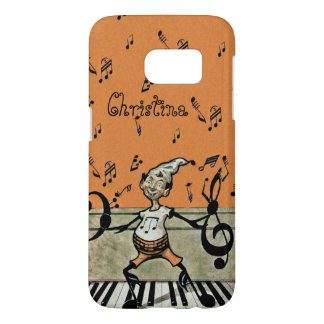 Fantsy Music Note Elf Standing on Piano on Orange