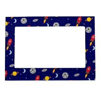 Far Out Cosmic Plaid Patern from Space Magnetic Picture Frame
