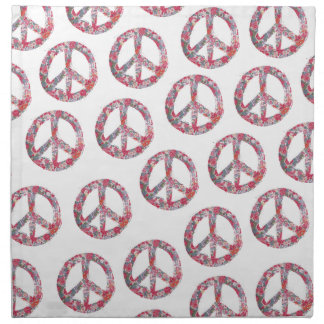 Far Too Pretty Floral Peace Symbols Napkins