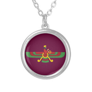 Faravahar Symbol Silver Plated Necklace