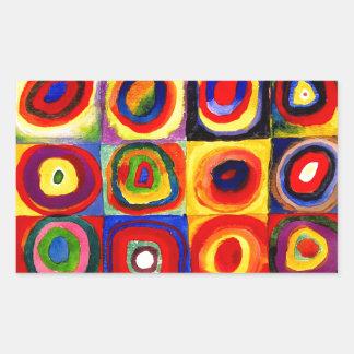 Farbstudie Quadrate Kandinsky Squares Circles Rectangular Sticker